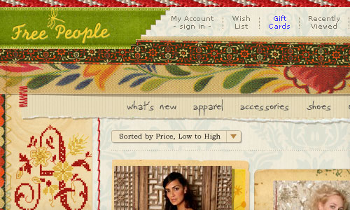 Free People website graphic showing style
